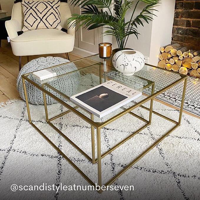 Gabrielle Brass & Glass Nesting Coffee Tables