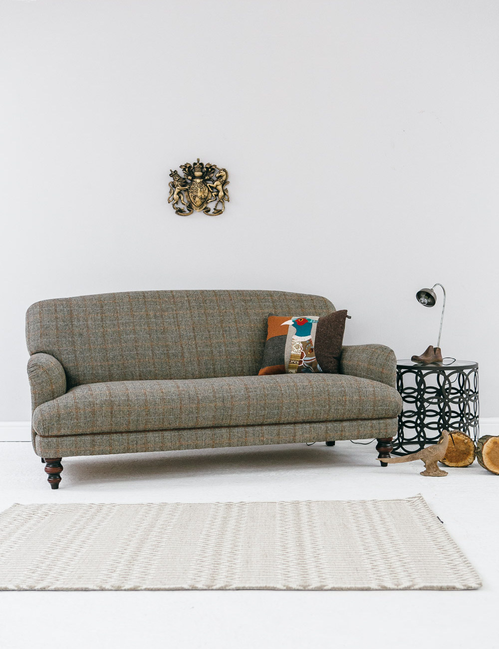 Manor harris tweed sofa in bracken at rose and grey for Grey tweed couch