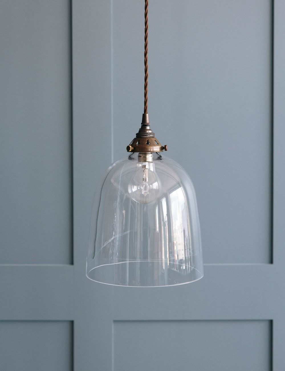 Bell Blown Glass Pendant Light Various Sizes Rose Grey