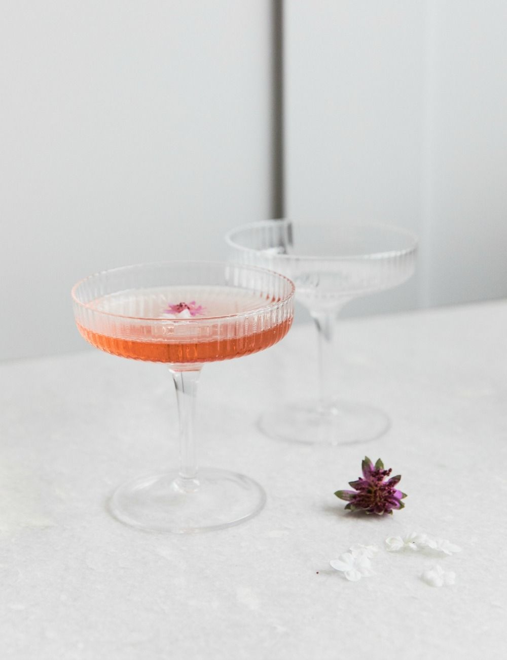 Ferm Living Ripple Glass Champagne Saucers Rose Grey