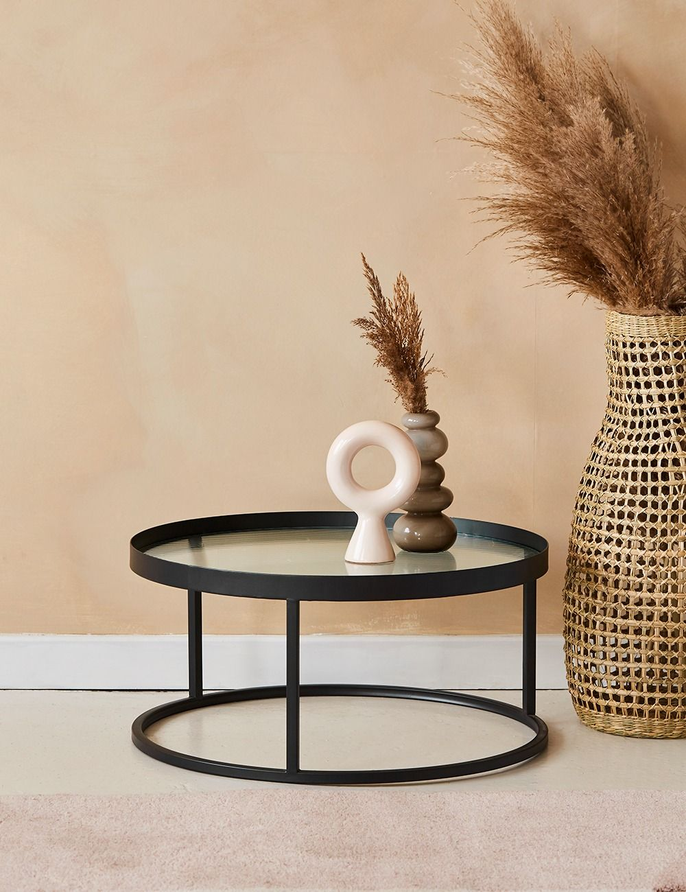 Kyoto Glass Metal Round Coffee Table Rose Grey