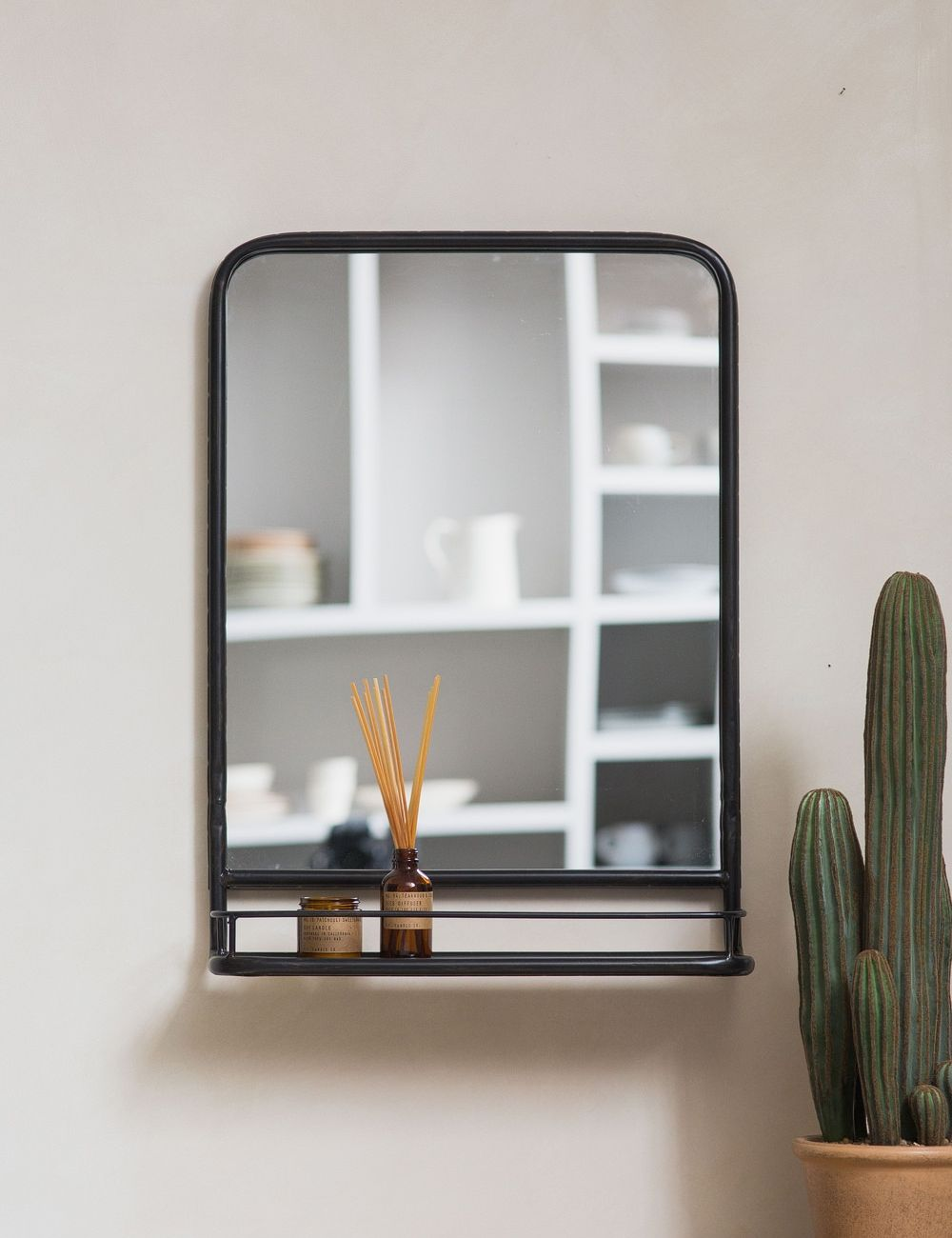 Large Industrial Mirror With Shelf Rose Grey