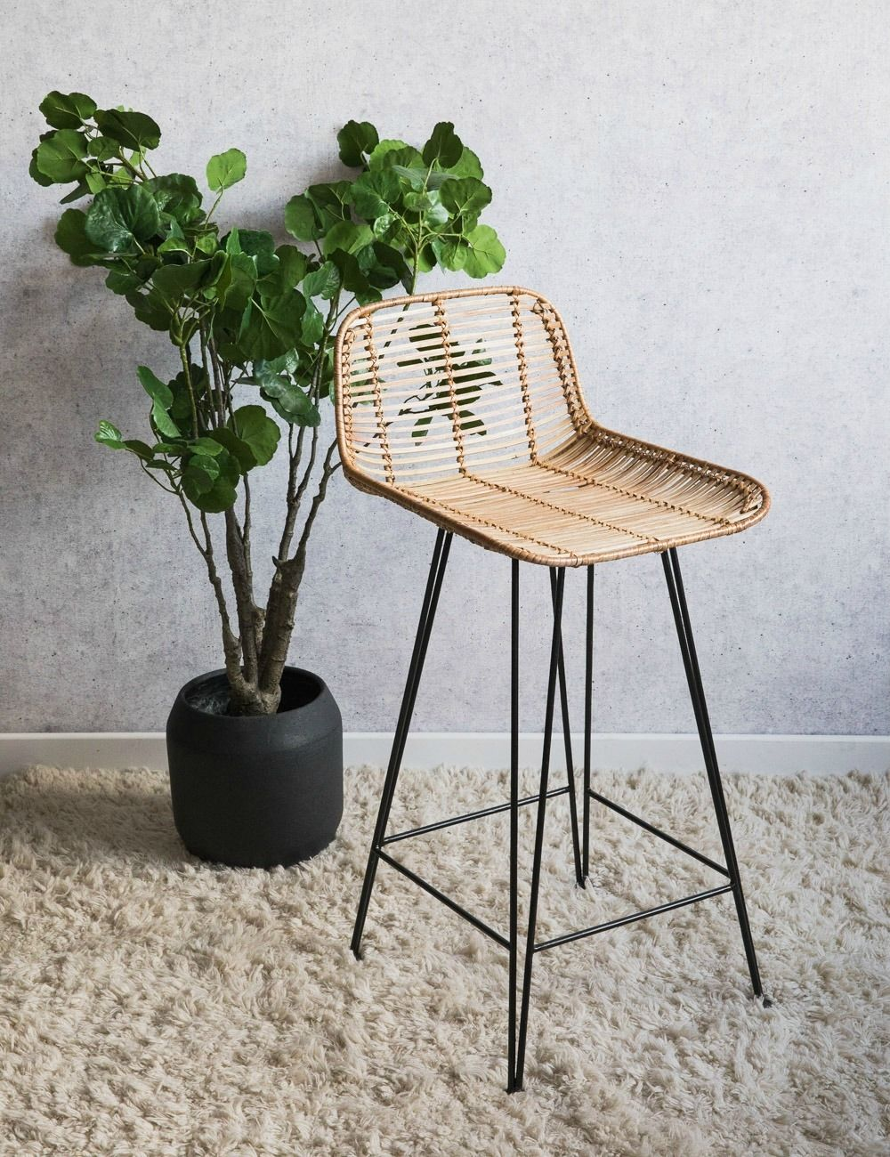 Picture of: Natural Rattan Bar Stool Wicker Style Rose Grey
