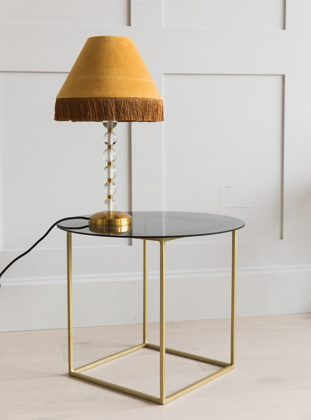 new concept c227d 9b126 Sofia Brass & Smoked Glass Side Table