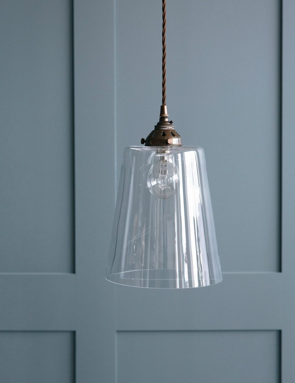 Tapered Blown Glass Pendant Light Rose Grey