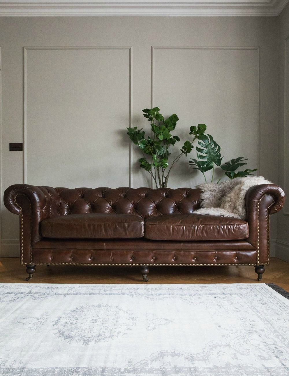 - Vintage Leather Chesterfield 3 Seater Sofa Rose & Grey