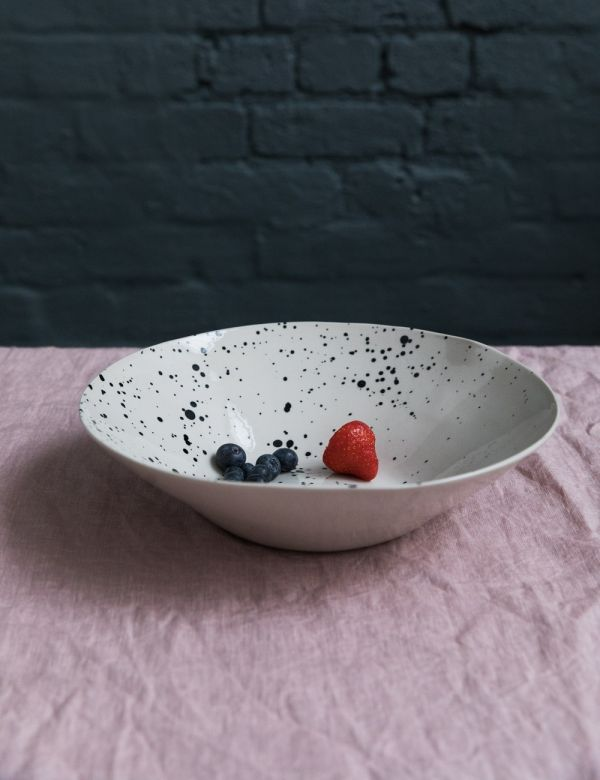 Ama Splatter Print Ceramic Serving Bowl