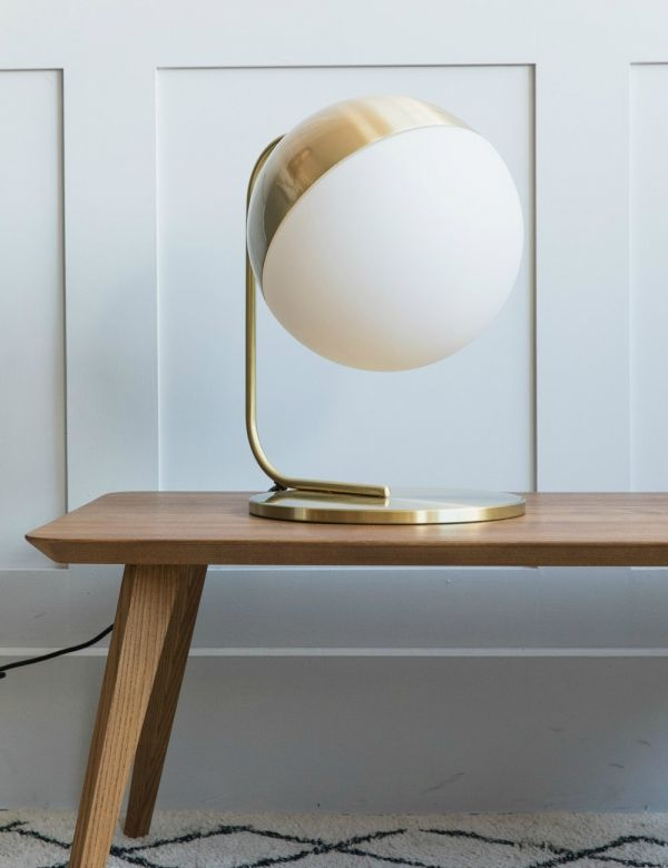 Amalfi Brass & White Globe Table Lamp