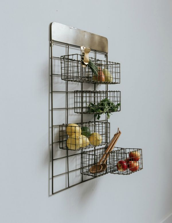 Antique Brass Wall Frame with Baskets