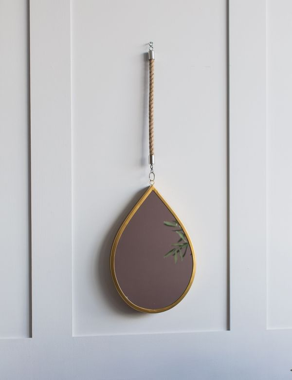 Antique Gold & Jute Rope Teardrop Mirror