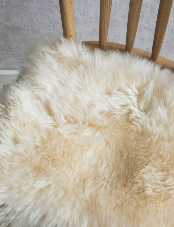 Australian Longhaired Sheepskin Chair Cushion - Champagne