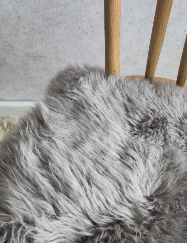 Australian Longhaired Sheepskin Chair Cushion - Mushroom