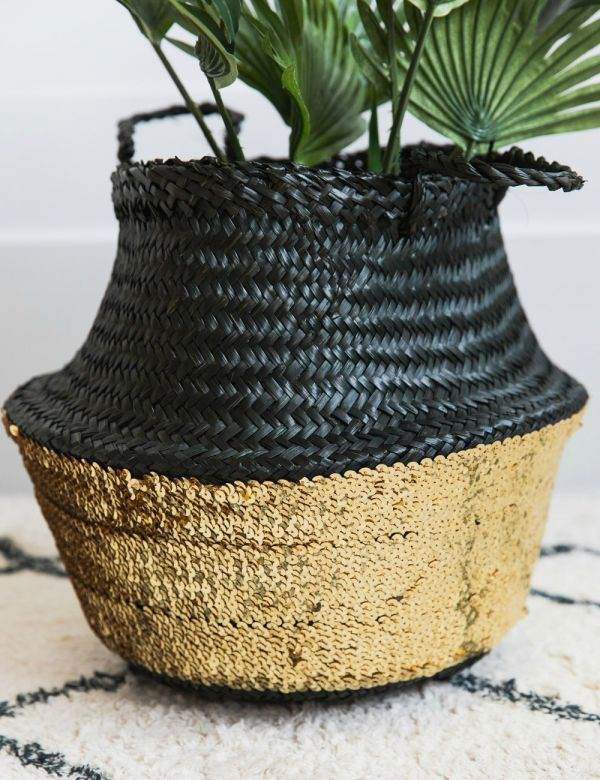 Black and Gold Small Sequin Basket