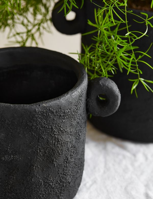 Black Cement Handle Plant Pot - Two Sizes Available