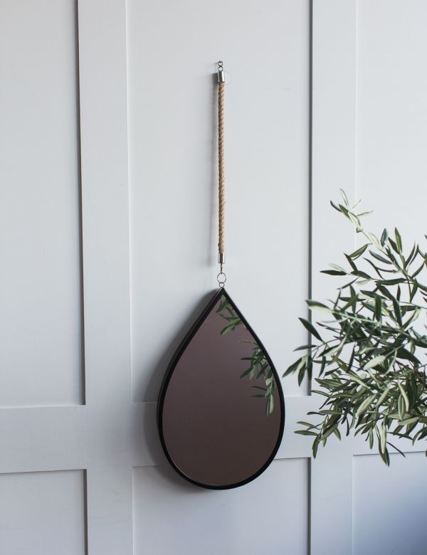 Black Iron & Jute Rope Teardrop Mirror