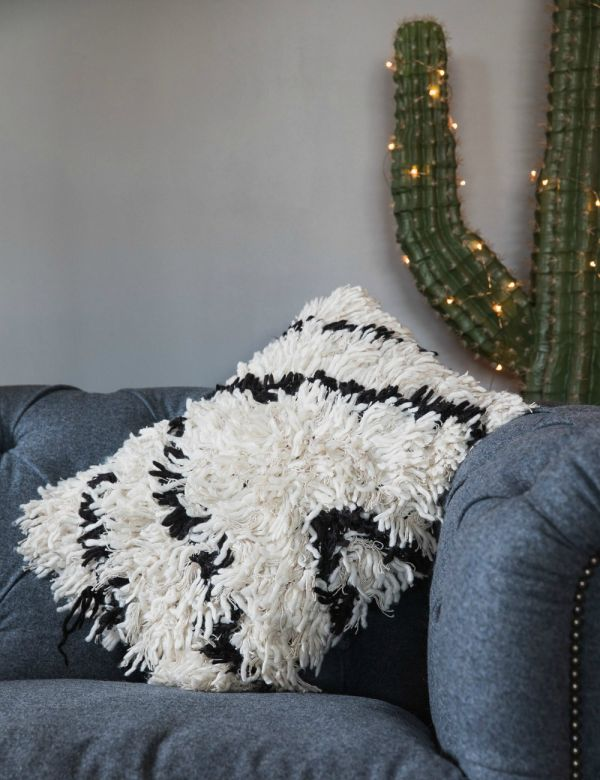Black & White Shaggy Cushion