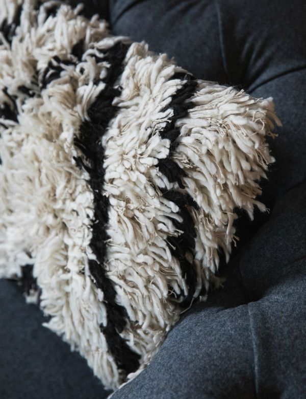 Black and White Shaggy Cushion