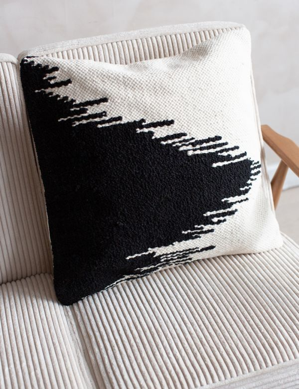 Black & White Triangle Print Cushion