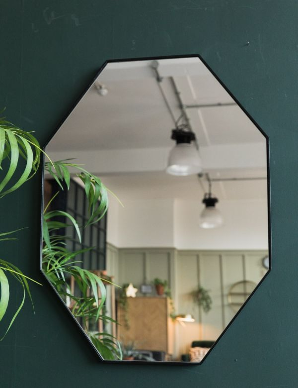 Black Wood Octagon Mirror