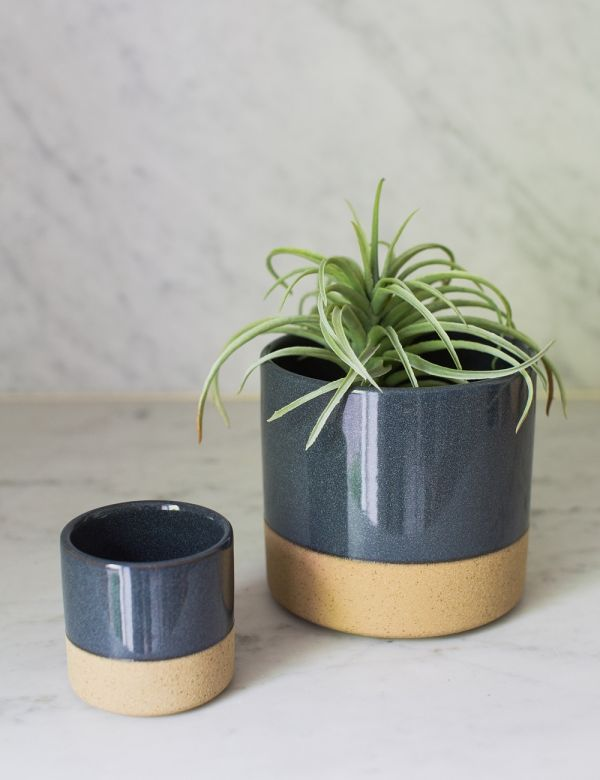 Blue Two-Tone Plant Pot - Two Sizes Available