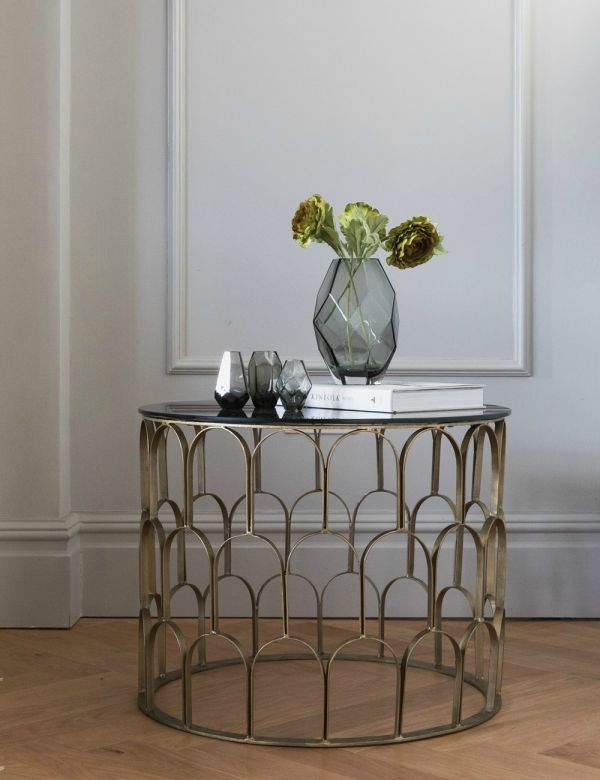 Brass & Black Glass Drum Coffee Table
