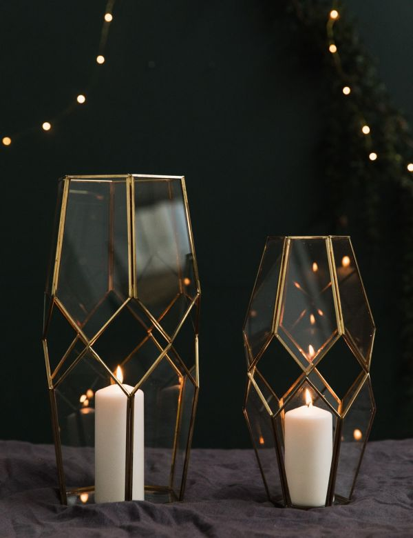 Brass & Glass Cut-Out Lantern
