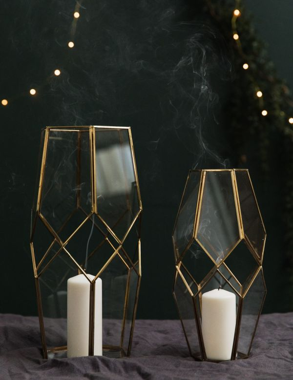 Brass & Glass Cut-Out Lantern - Two Sizes Available