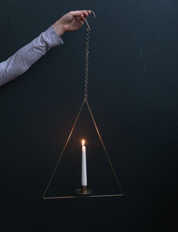 Brass Triangle Hanging Candle Holder