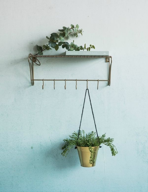 Brass Wire Shelf with Hooks