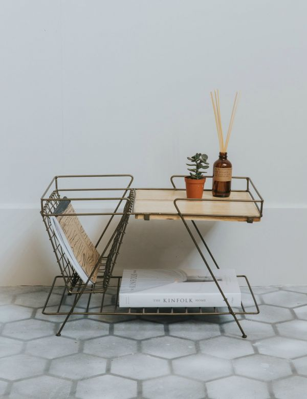 Brass & Wood Retro Magazine Rack