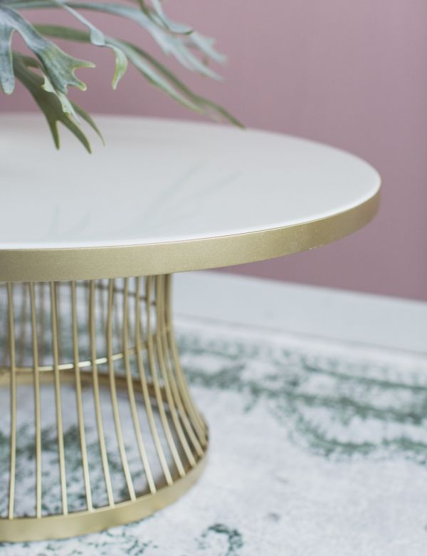 Caitlyn Coffee Table - Marble & Gold