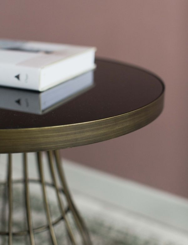 Camilla Side Table - Glass & Bronze