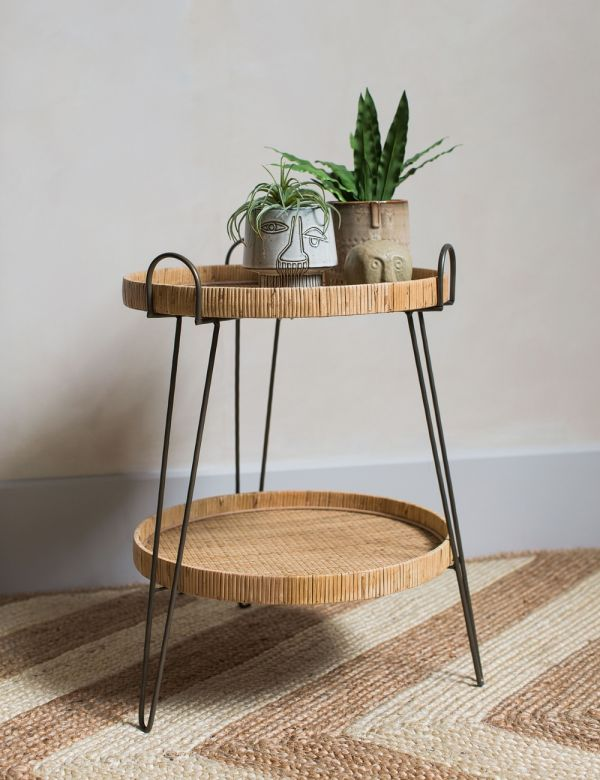 Carrie Two-Tier Rattan Side Table