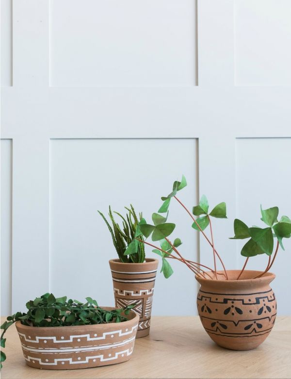 Tall Handpainted Clay Plant Pot
