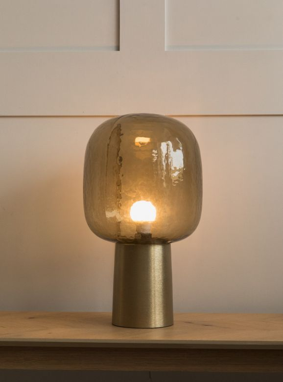 Como Tall Brass & Grey Glass Table Lamp