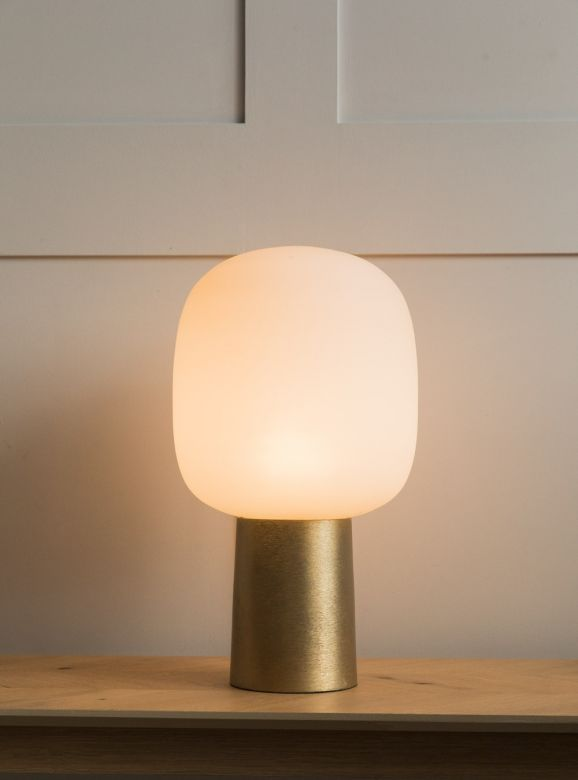 Como Tall Brass & White Glass Table Lamp