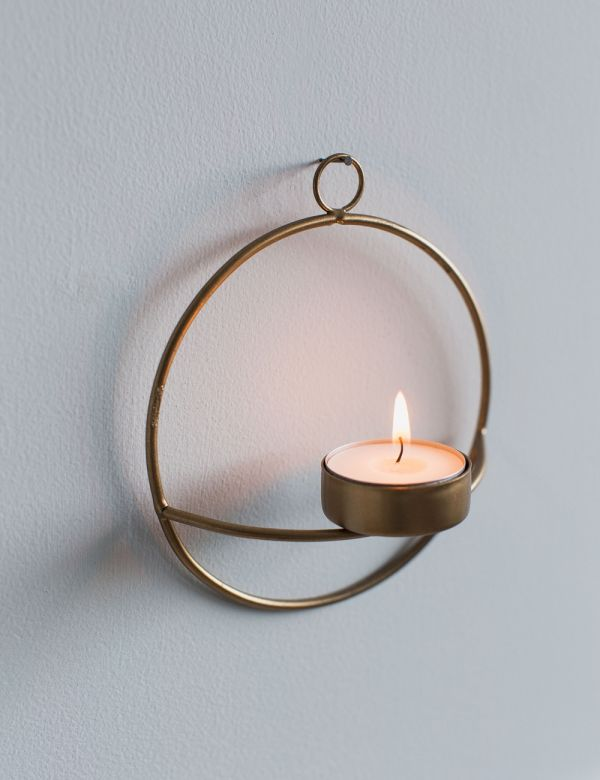 Derwala Antique Brass Wall Tealight Holder - Three Sizes Available