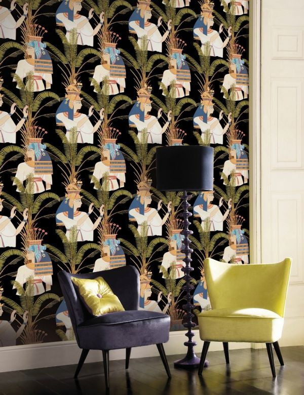Mind The Gap Wallpaper Collection - Egyptian Queens Anthracite