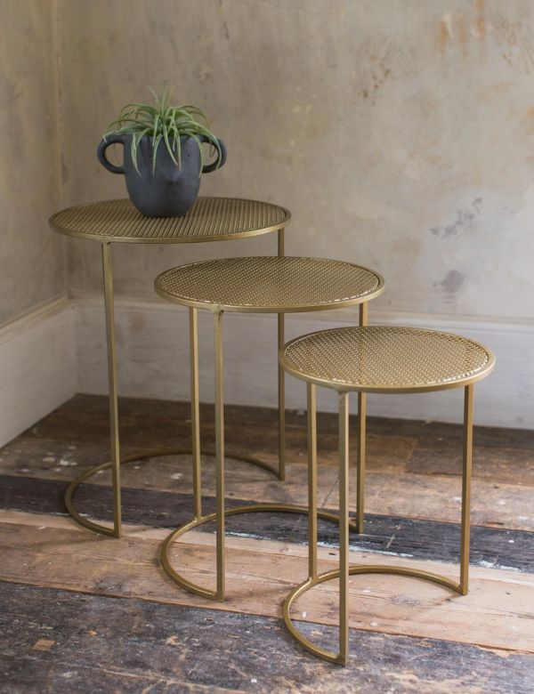 Set of Three Brass Mesh Metal Nesting Side Tables