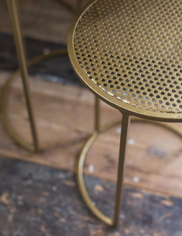Ellen Set of Three Brass Mesh Metal Nesting Side Tables