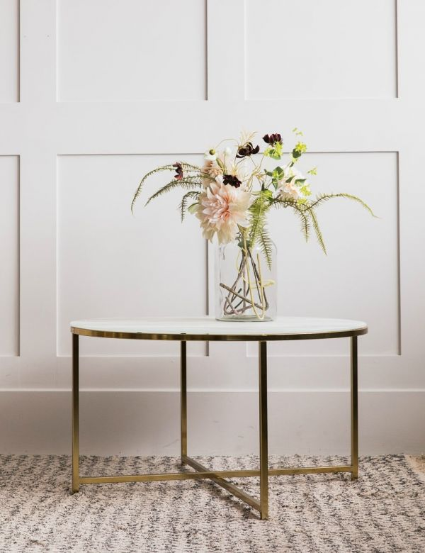 Felicity White Marble & Brass Round Coffee Table