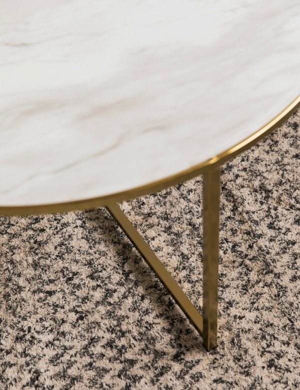 Felicity White Marble-Look & Brass Round Coffee Table