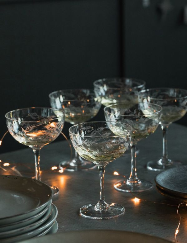 Fern Engraved Champagne Glasses