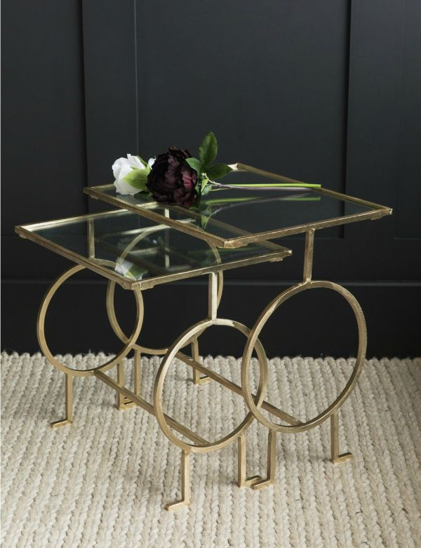 Fitzgerald Nesting Brass & Glass Side Tables