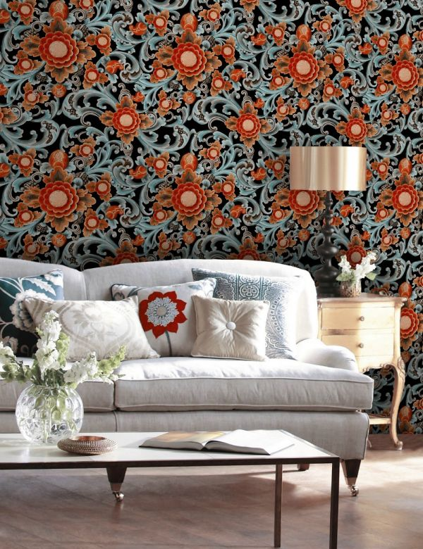 Mind The Gap Wallpaper Collection - Floral Painting Dark
