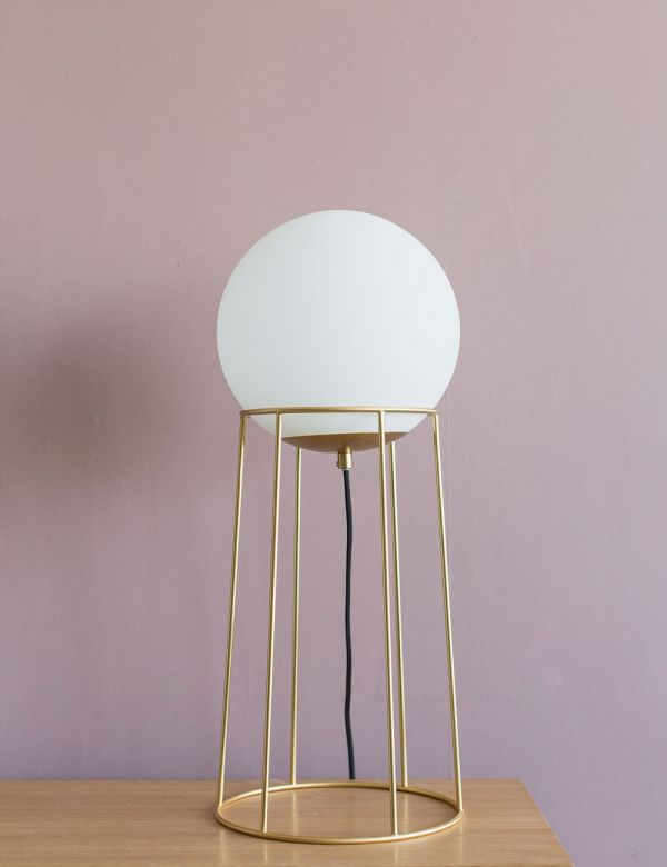 Genoa Brass & White Floor Lamp