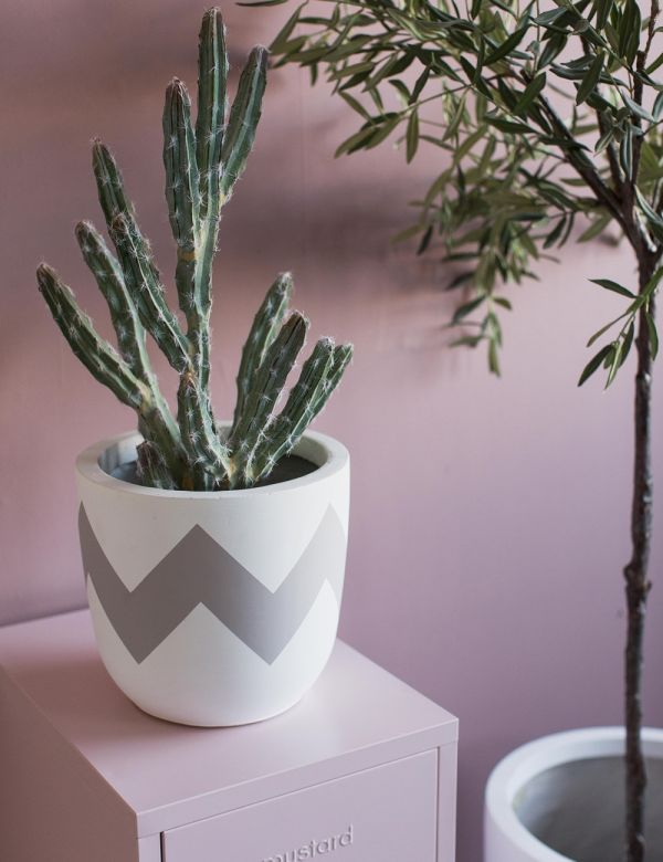 Geometric Fibre Clay Plant Pots by Pow Pots - Three Sizes Available