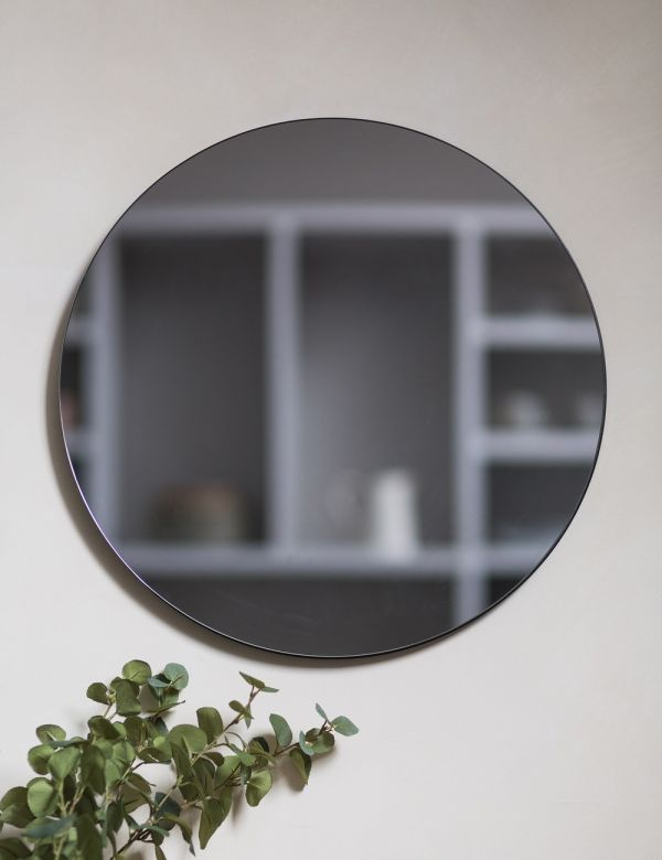 Grey Glass Round Mirror