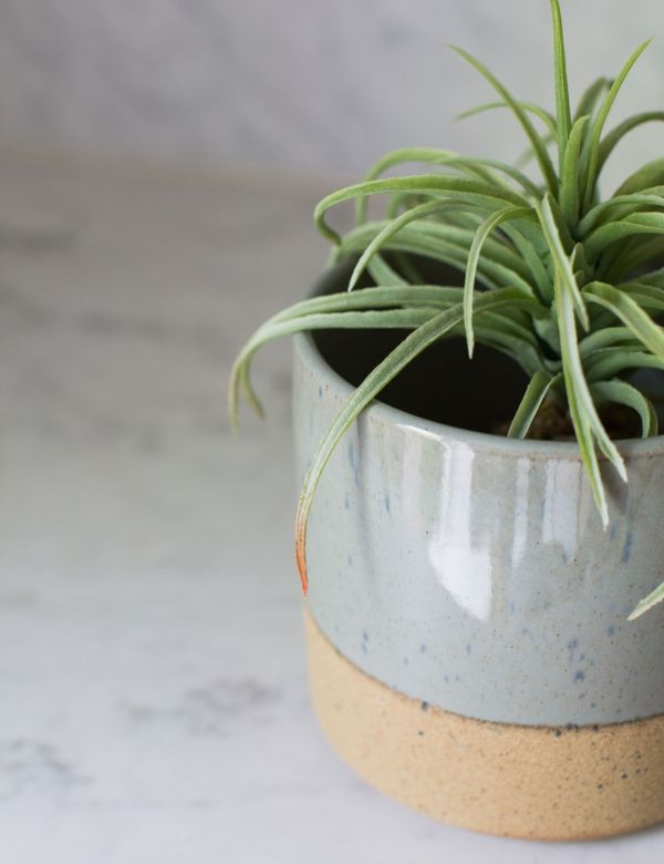 Grey Large Two-Tone Plant Pot