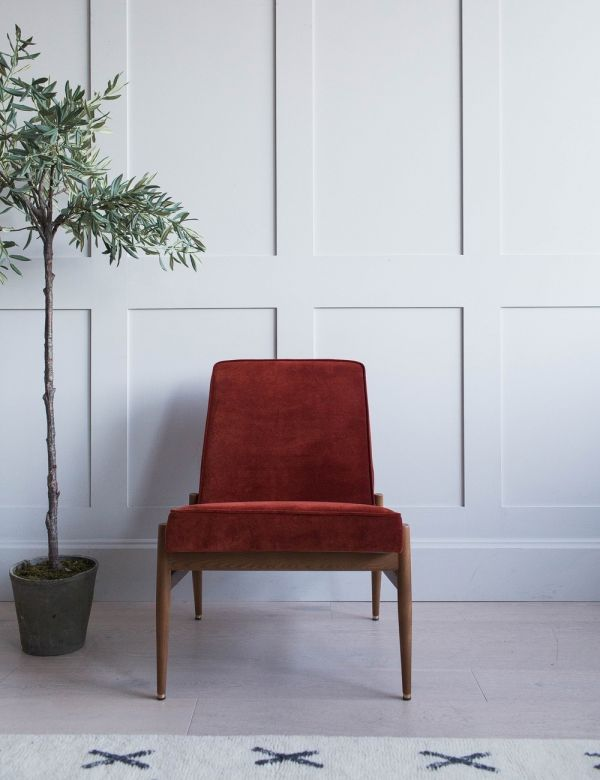 H.Lis Fox Club Chair in Red Brick Velvet